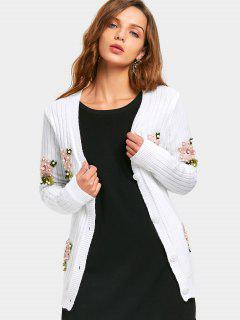 Beaded Floral Patched Button Up Cardigan - White