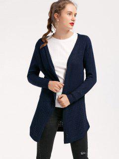 Long Sheer Open Front Cardigan - Purplish Blue