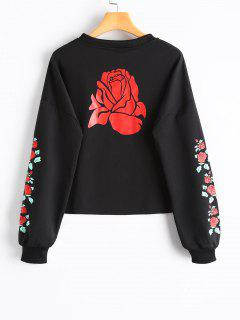 Raw Hem Rose Print Sweatshirt - Black M