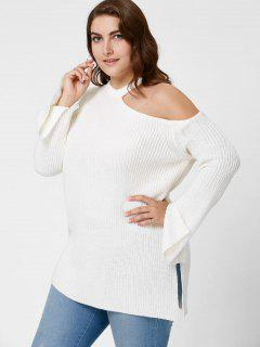 Plus Size Side Slit Cold Shoulder Sweater - White 5xl