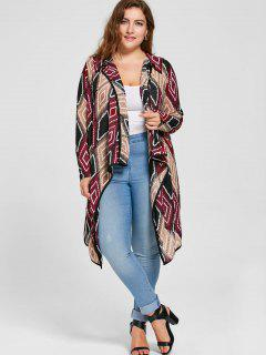 Plus Size Geometric Drape Cardigan - Red 3xl