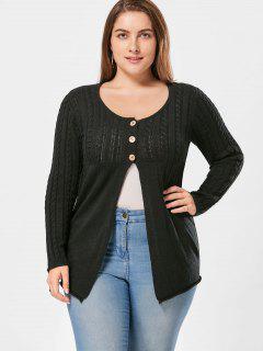 Plus Size Cable Knit Button Up Cardigan - Black 3xl