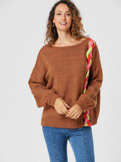 Drop Shoulder Cable Knit Sweater - Light Brown M