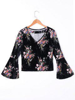 Flare Sleeve Floral Velvet T-shirt - Black 2xl