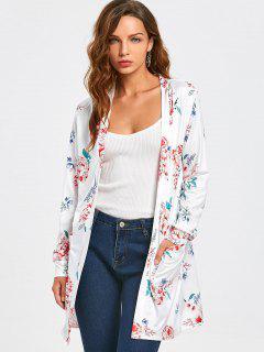Blusa Floral Abierta Abierta Con Bolsillos - Blanco S