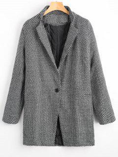 One Button Graphic Lapel Coat - White And Black Xl
