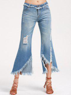 Destroyed Frayed Asymmetrical Flare Jeans - Denim Blue M
