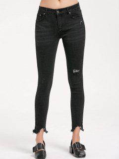 Skinny Ripped Frayed Pencil Jeans - Black L