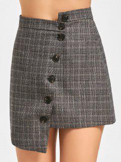 Plaid Asymmetrical Skirt - Plaid M
