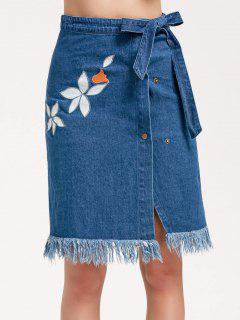 Frayed Bowknot Embroidered Denim Skirt - Denim Blue M