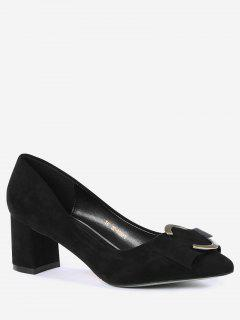 Metal Buckle Strap Pointed Toe Pumps - Black 34