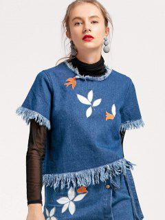 Frayed Embroidered Denim Top - Denim Blue L