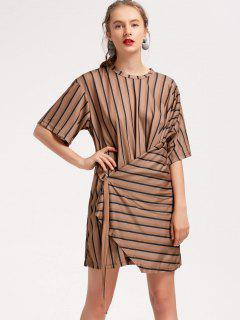 Metallic Ring Asymmetrical Stripes Mini Dress - Stripe S