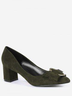Metal Buckle Strap Pointed Toe Pumps - Blackish Green 34