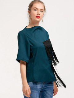 Slash Neck Asymmetrical Fringed Top - Blackish Green S