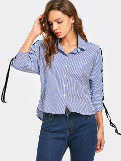 Side Slit Lace Up Sleeve Striped Shirt - Blue S