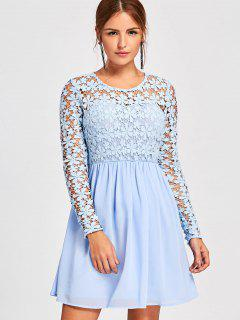 Long Sleeve Lace Panel Hollow Out Skater Dress - Windsor Blue L