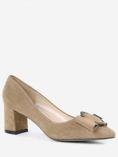 Metal Buckle Strap Pointed Toe Pumps - Camel 34
