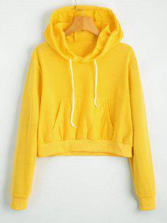 Front Pocket Drawstring Crop Hoodie - Yellow S