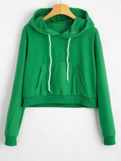 Front Pocket Drawstring Crop Hoodie - Green S