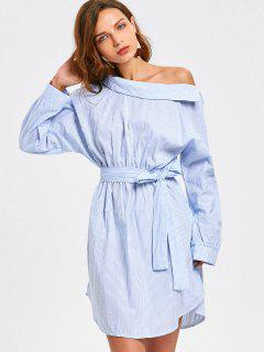 One Shoulder Long Sleeve Stripes Casual Dress - Stripe L