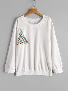 T-shirt Brodé D'arbre De Noël - Rouge Xl