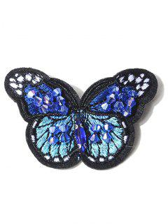 Butterfly Embroidery Brooch - Blue