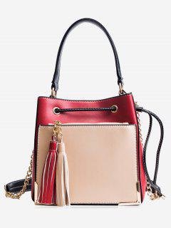 Tassel Metal Corner Drawstring Tote Bag - Red