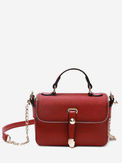 Chain Zip Metal Handbag - Red