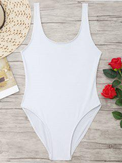 U Back High Cut One Piece Swimwear - White L