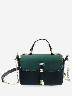 Chain Zip Metal Handbag - Green