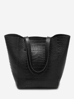 PU Leather Embossed Pattern Shoulder Bag - Black
