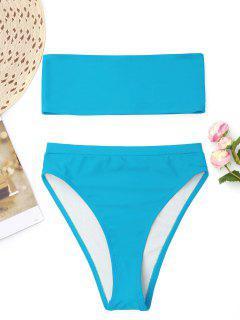 Bralette High Cut Bandeau Bikini - Meeresblau S