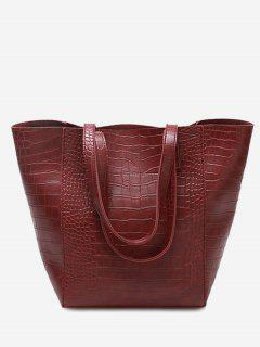 PU Leather Embossed Pattern Shoulder Bag - Red