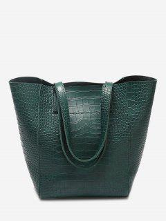 PU Leather Embossed Pattern Shoulder Bag - Green