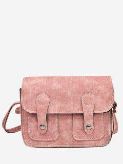 Stitching Buckle Straps Crossbody Bag - Pink