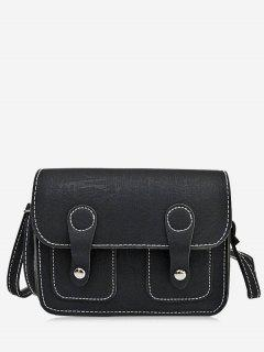 Stitching Buckle Straps Crossbody Bag - Black