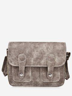 Stitching Buckle Straps Crossbody Bag - Brown