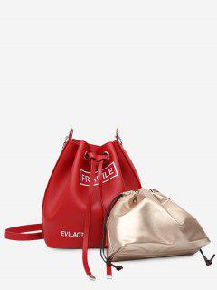 Drawstring Letter PU Leather Crossbody Bag Set - Red