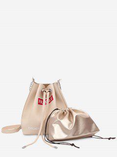 Drawstring Letter PU Leather Crossbody Bag Set - White