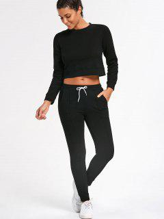 Sporty Cropped Sweatshirt With Jogger Pants - Black M
