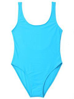 U Back High Cut One Piece Swimwear - Lake Blue Xl
