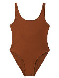 Low Back Shiny One Piece Swimwear - Brick-red L