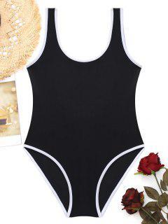 U Back Shiny Piping One Piece Swimwear - Black M