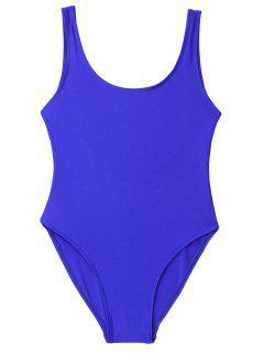 Traje De Baño De Una Pieza Brillante De Espalda Baja - Azul Zafiro S