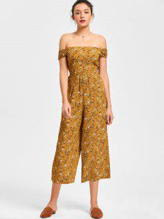 Floral Off The Shoulder Capri Jumpsuit - Earthy L
