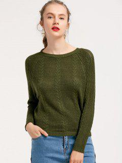 Loose Sheer Cable Knit Sweater - Army Green