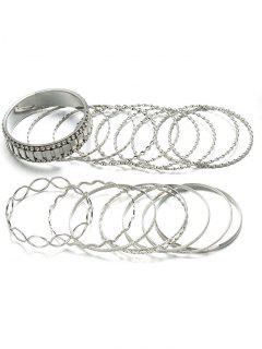 Alloy Rhinestone Circle Bangle Bracelet Set - Silver
