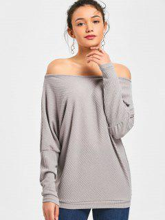 Dolman Sleeve Off The Shoulder Sweater - Gris S