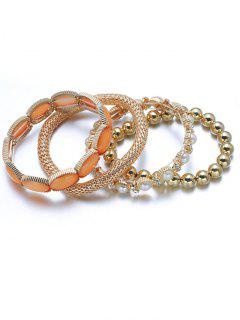 Faux Pearl Beaded Elastic Bracelet Set - Golden